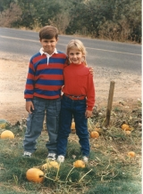 JD and Erin at a pumpkin patch, 1988.